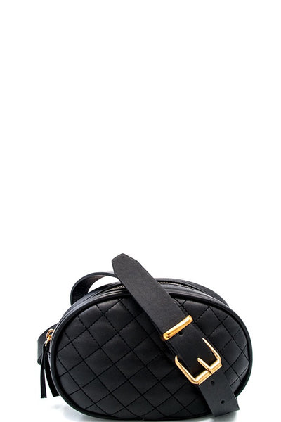 Black Quilted Belt Bag