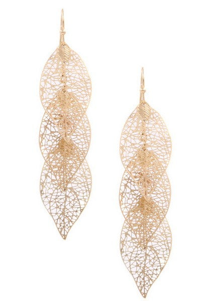 Linked thin metal leaf drop earrings