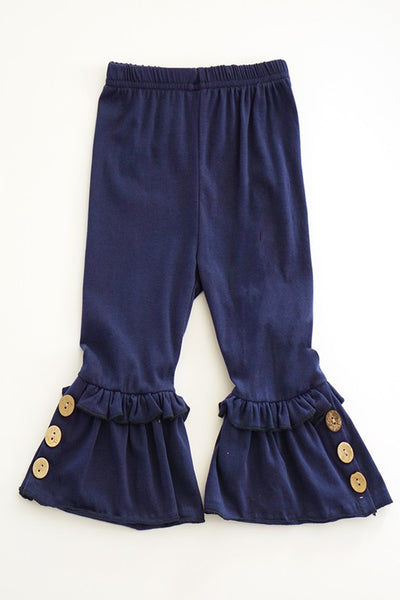 Kid's Ruffle Pants with Button Accent