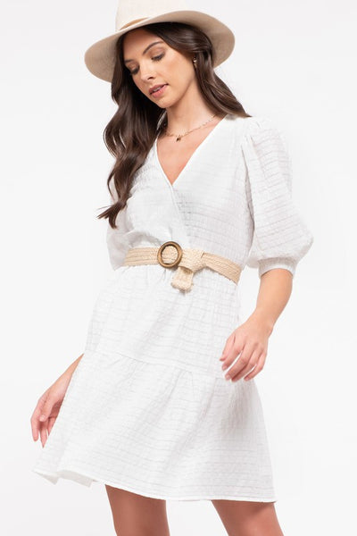 Wrinkle Effect Tiered Dress