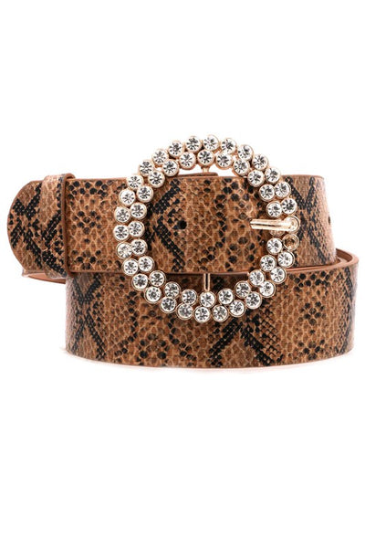 Faux Leather Snake Rhinestone Belt