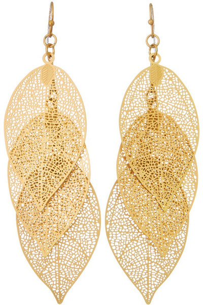 Layered Metal Filigree Leaf Earring