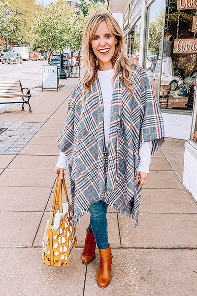 Plaid Open Poncho with Fringe