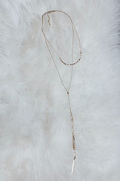 Double Layer metal Bead Fringe Necklace