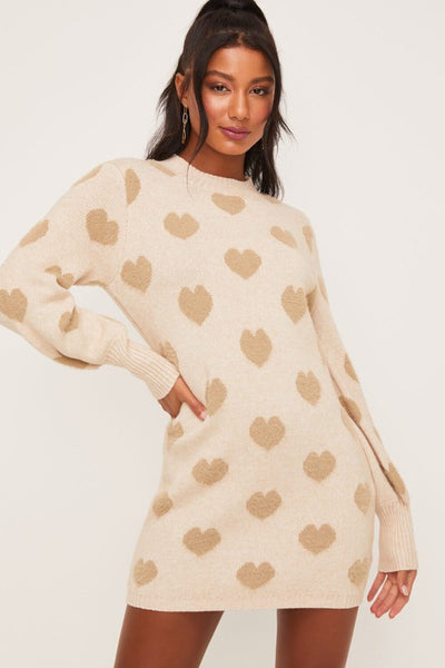 Heart Print Sweater Dress with Balloon Sleeves