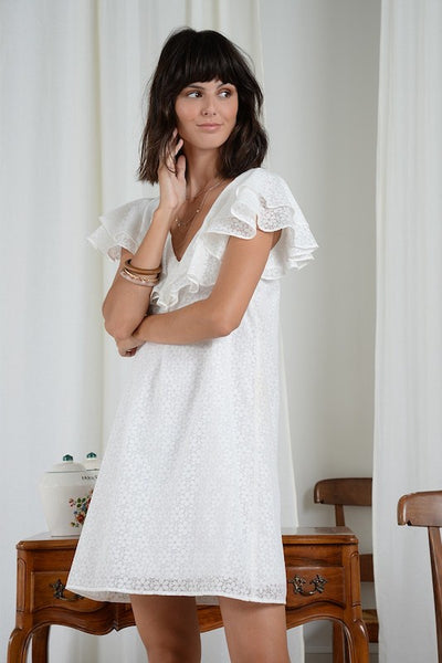 Ruffle V Neck Dress