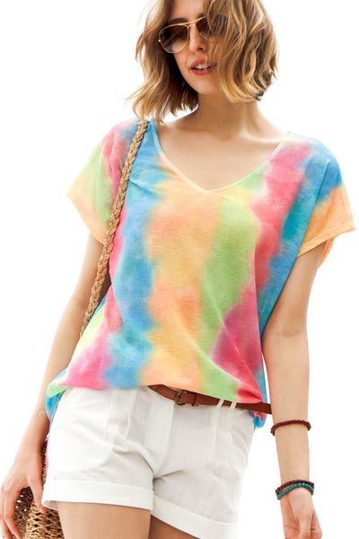 Rainbow Chromatic V Neck Top