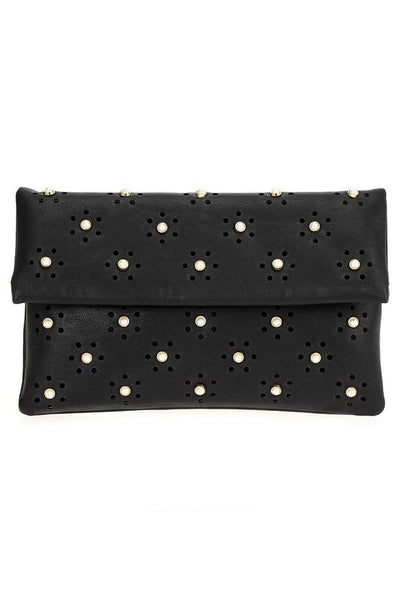Laser cut clutch with pearls