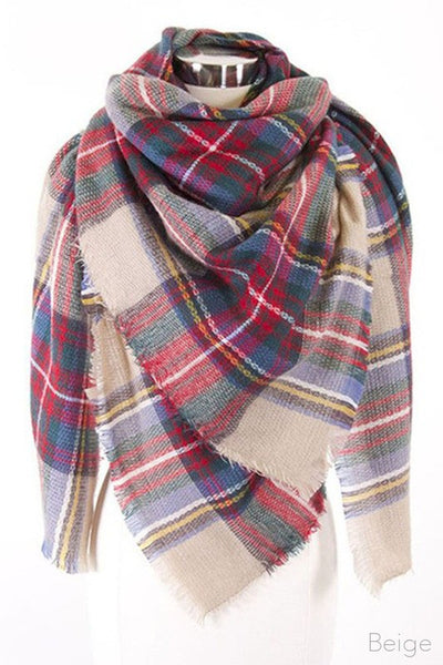 Plaid-Blanket Scarf