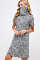 Leopard Face Mask Short Sleeve Dress