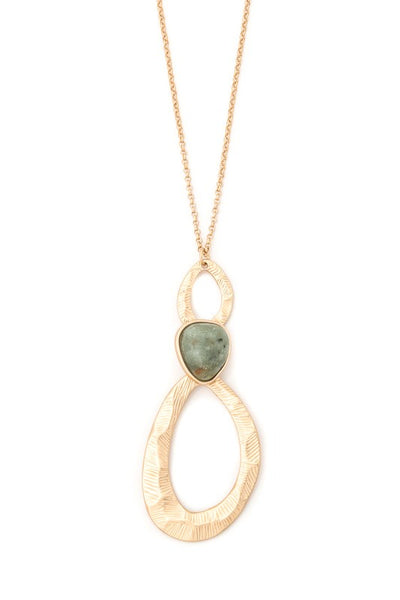 Teardrop Necklace w/ Green Stone