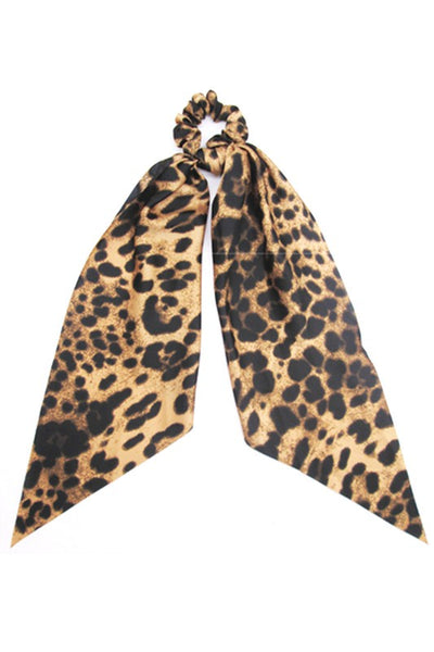 Leopard Scrunchie with Ribbon Bow