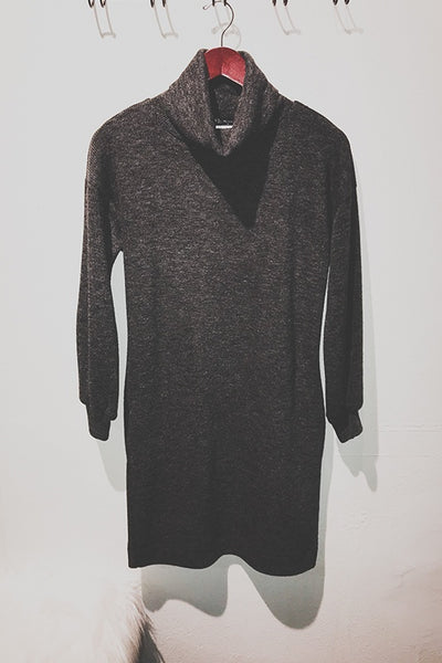 Turtleneck Sweater Dress with Side Pockets
