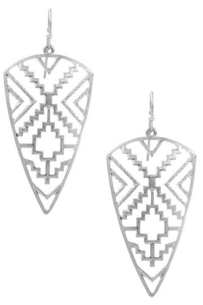 Metal Aztec Shield Earring
