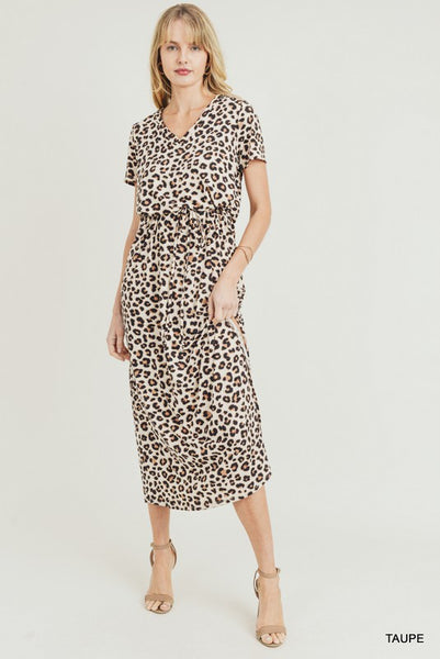 Leopard Maxi Dress with Side Slit