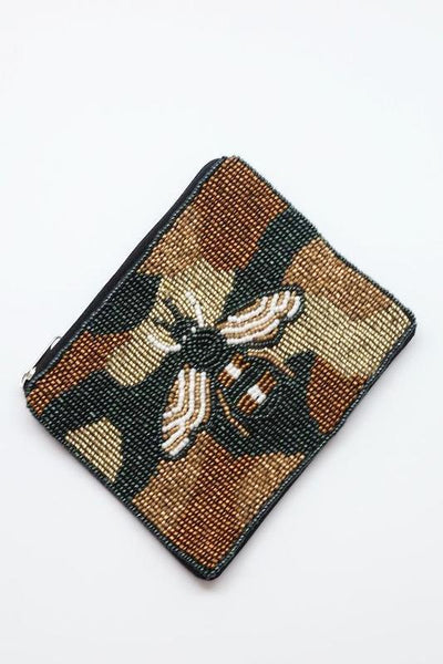Canyon Beaded Camo Bee Coin Purse