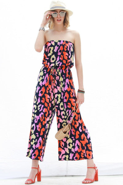 Animal Print Off Shoulder Jumpsuit