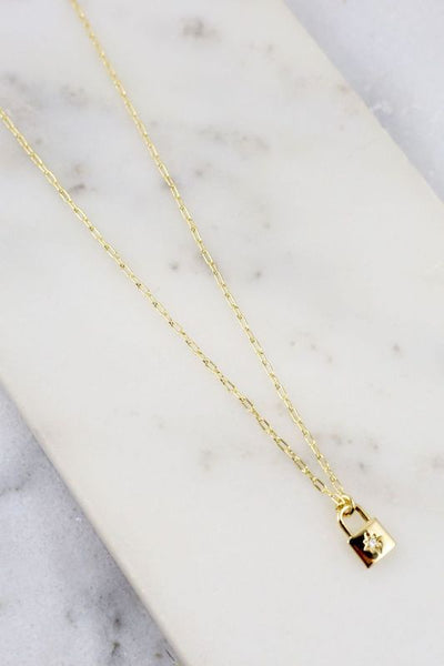 Galvin CZ Lock Necklace