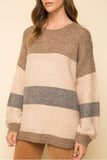 Balloon Sleeve Stripe Sweater