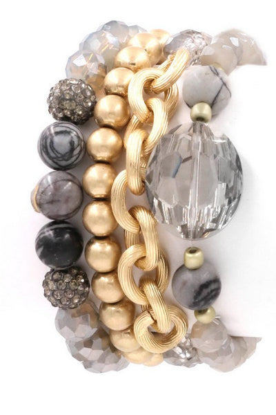 Faceted Bead and metal chain Bracelet