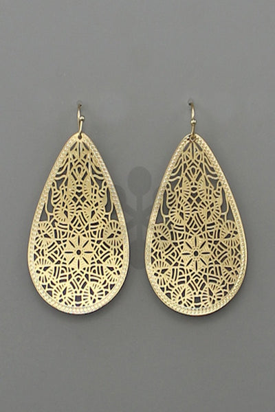 Metal Filigree T-Drop Dangle Earring
