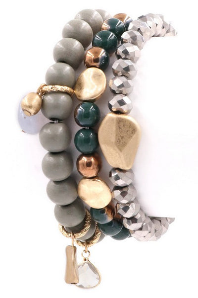 Wood-Stone-Bead Layered Bracelet Set