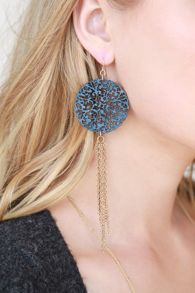 Wood and Chain Tassel Drop Earring