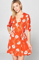 Floral Wrap Dress with Tie Waist