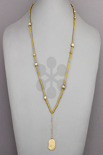 Beaded Necklace with Flat Bead Pendant