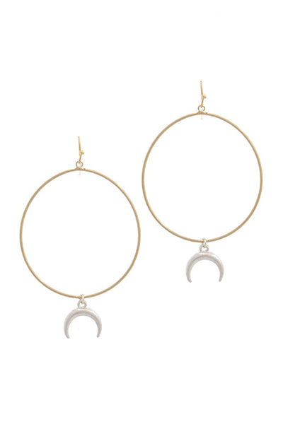 Cut Out Circle Crescent Moon Earring