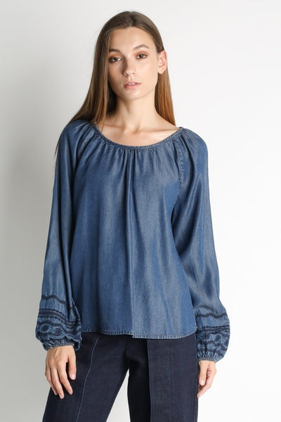 Long Sleeve Denim Top with Embroidery