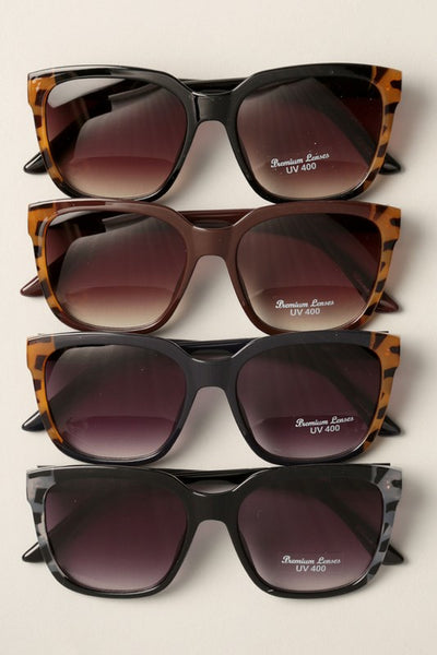 Oversized Frame Tortoise Detail Sunglasses