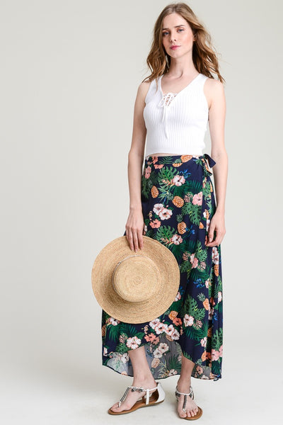 Tropical Tulip Hem Wrap Skirt