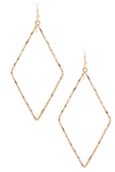 Metal Crimped Diamond Drop Earrings