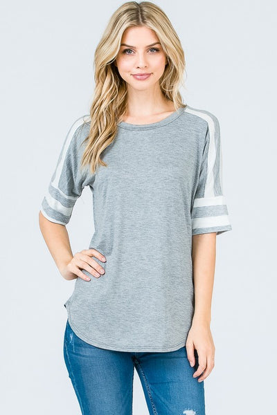 Casual Top w/ Stripe Sleeves