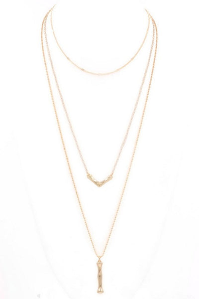 Triple layered metal triangle/bar pendant necklace