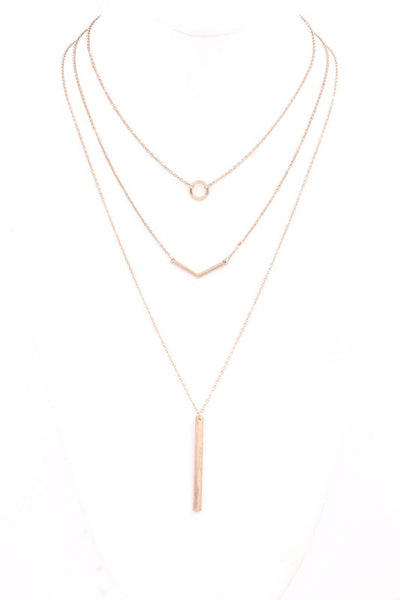 Metal Bar 3 Piece Necklace