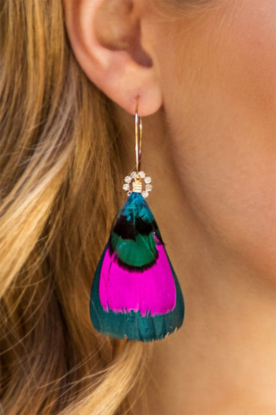 Feather & Crystal Dangle Earrings