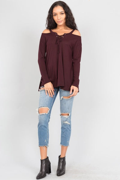 Lace Up Waffle Top