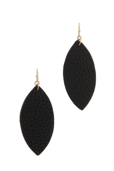 Pointed oval Faux Leather Earring