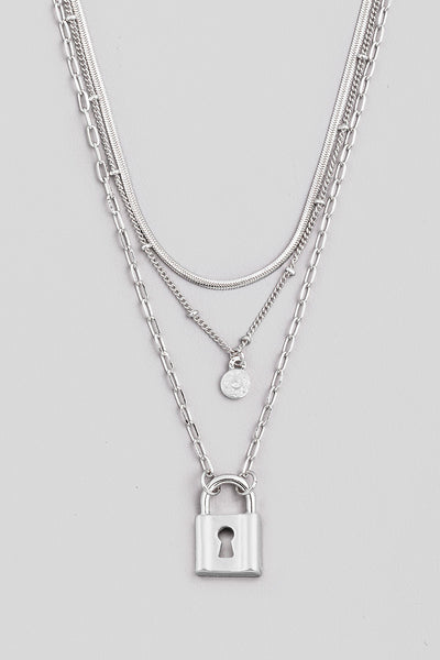 Layered Necklace w padlock charm