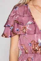 Ruffled Floral Satin Wrap Dress
