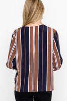 Stripe Knotted Woven Top