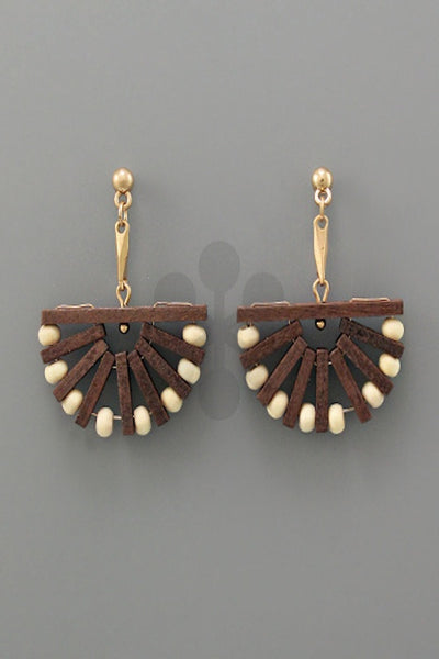 Wood Bar and Ball Wedge Earring