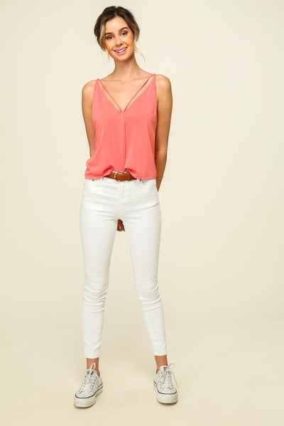 Strapped V-Neck Crop Top