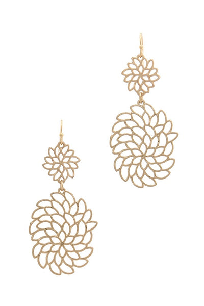 Metal Drop Earring with Floral Cut Out