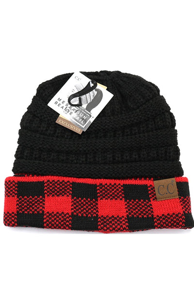 Buffalo Check Print Messy Bun Beanie