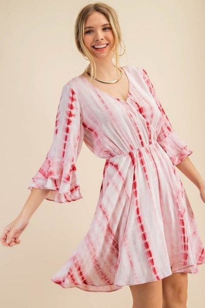 3/4 Flare Ruffle Sleeve Dress