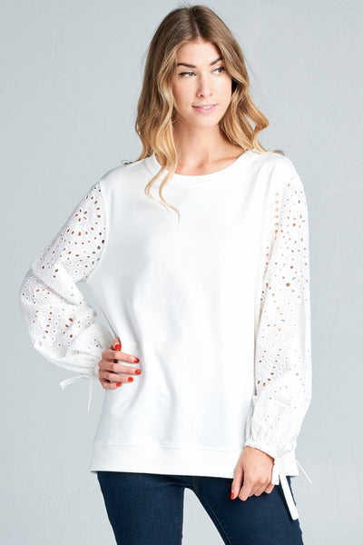 Round Neck Top with Eyelet Lace Sleeves