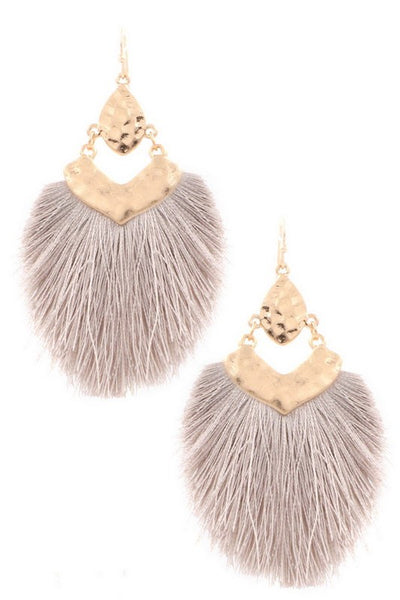 Metal Arrow Cotton Tassel Drop Earrings